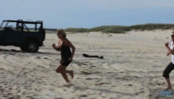 Esta si que tenia ganas de ir a la playa... LOL